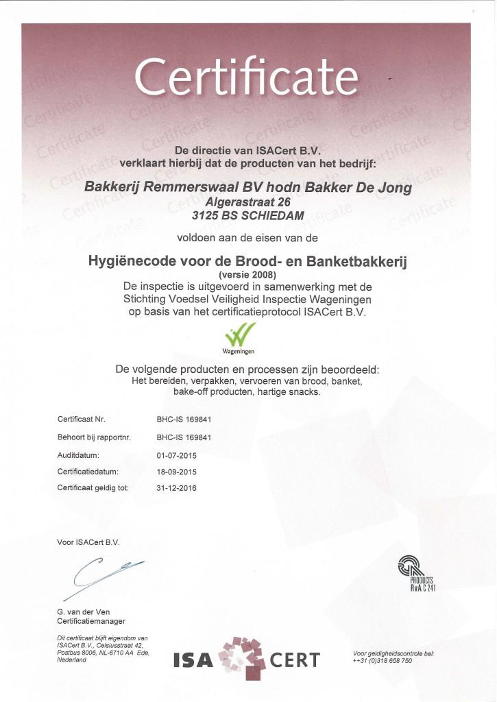 HACCP certificaat 2016